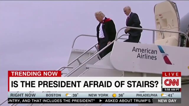 trump afraid of stairs