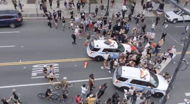 nypd officers ram protesters