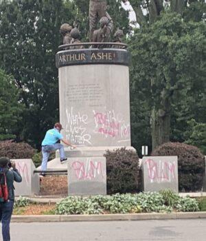 arthur ashe vandalized